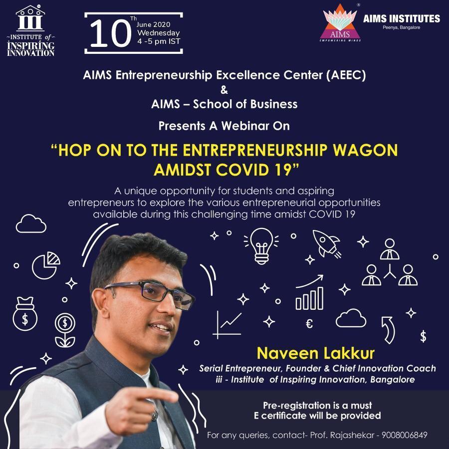 Hop on to Entrepreneurship Wagon amidst covid-19